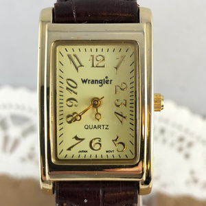 Wrangler Accessories - Vintage Wrangler Tank Watch Gold Tone Brown Strap